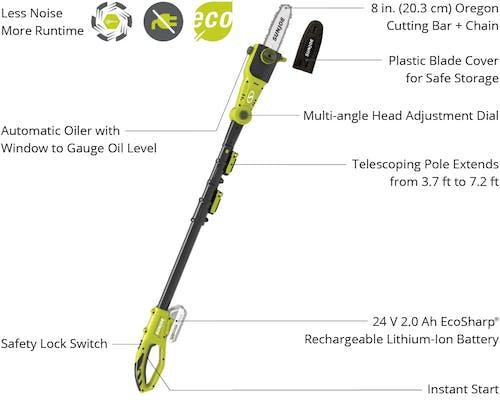 Sun Joe 24V-PS8-LTE Cordless Telescoping Pole Chainsaw   24-Volt   8-Inch    2-Ah