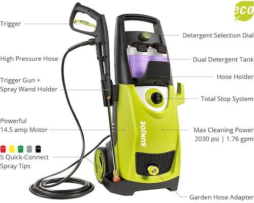 Sun Joe SPX3000 Electric Pressure Washer | 2030 PSI Max | 1 76 GPM |  14 5-Amp
