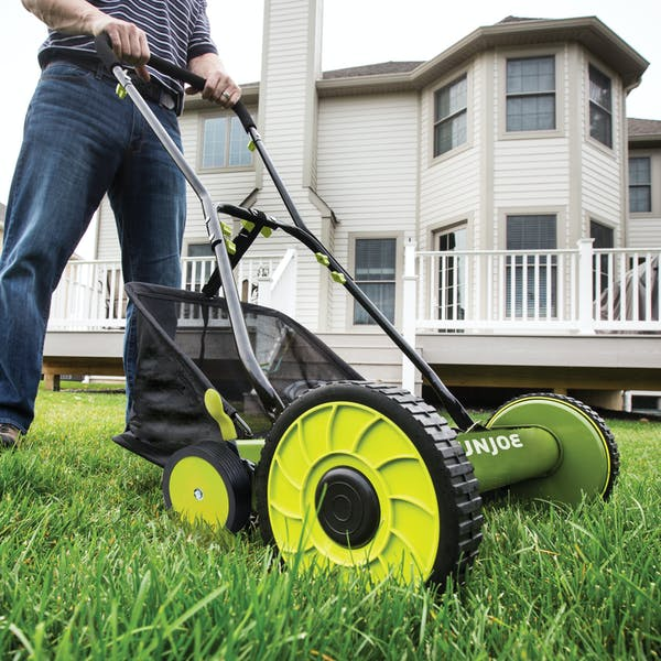 Sun Joe MJ501M Manual Reel Mower w/ Grass Catcher | 18 inch